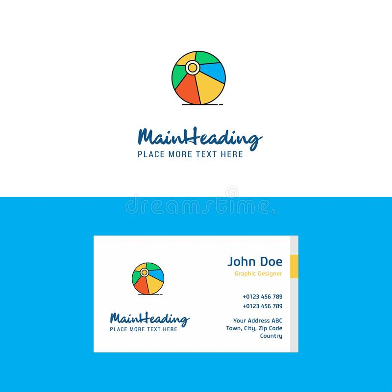 Плоские логотип шарика залпа и шаблон карты посещения Дизайн логотипа концепции Busienss иллюстрация штока