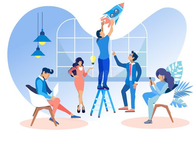 Плоские люди работают в офисе для того чтобы начать вебсайты иллюстрация штока