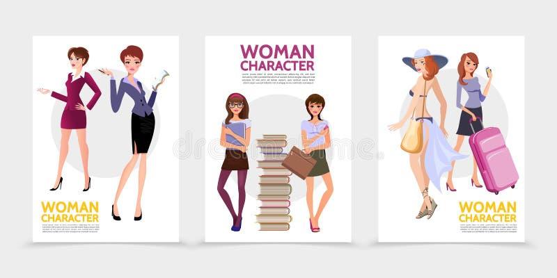 Плоские плакаты характеров женщины бесплатная иллюстрация