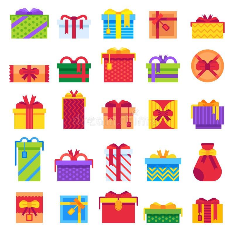 Плоские подарки рождества Сюрприз зимнего отдыха присутствующий в подарочной коробке Комплект иллюстрации вектора Xmas изолирован бесплатная иллюстрация