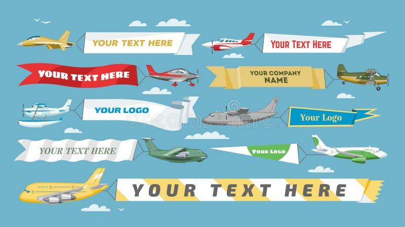 Плоские самолет или воздушные судн вектора знамени с пустым объявлением шаблона рекламы и текста сообщения в комплекте иллюстраци иллюстрация штока