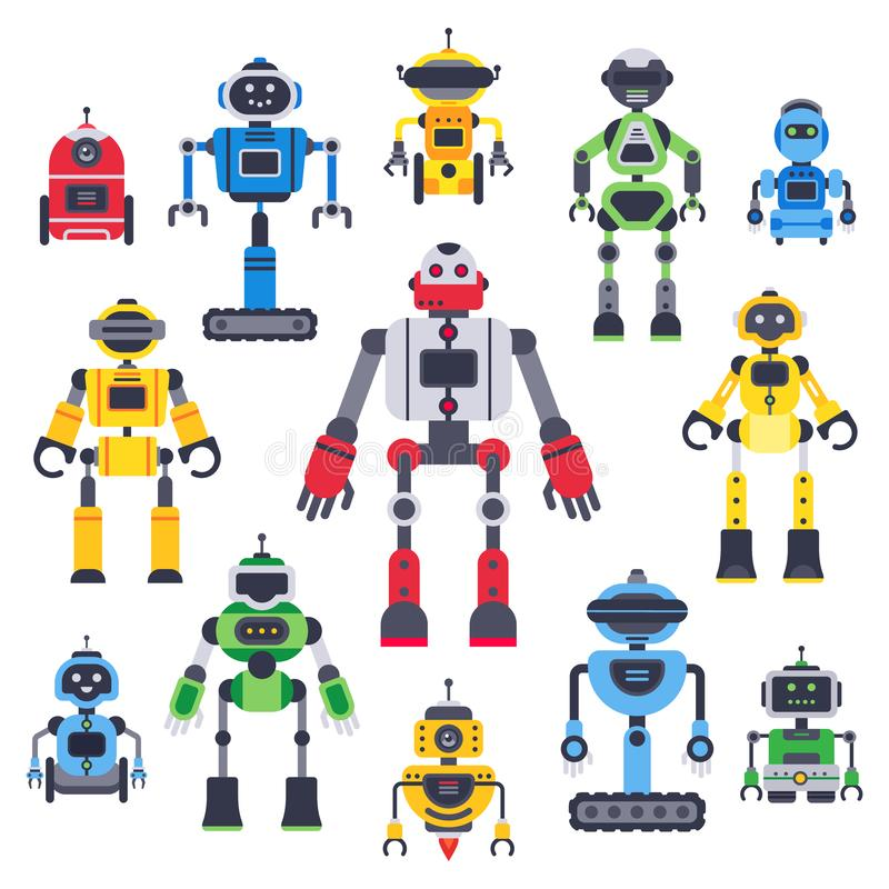 Плоские средства и роботы Робототехнический установленные талисман средства, робот гуманоида и характеры милого вектора chatbot а иллюстрация вектора