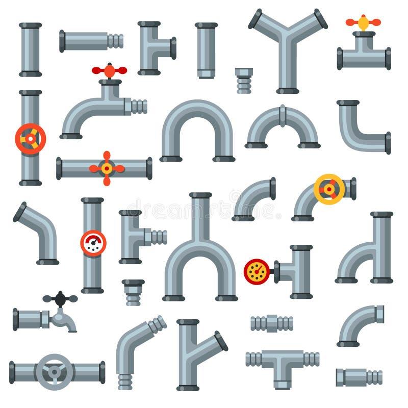 Плоские трубы Труба масла с манометром, манометром трубки металла и набором вектора трубопровода стока изолированным соединителем иллюстрация вектора