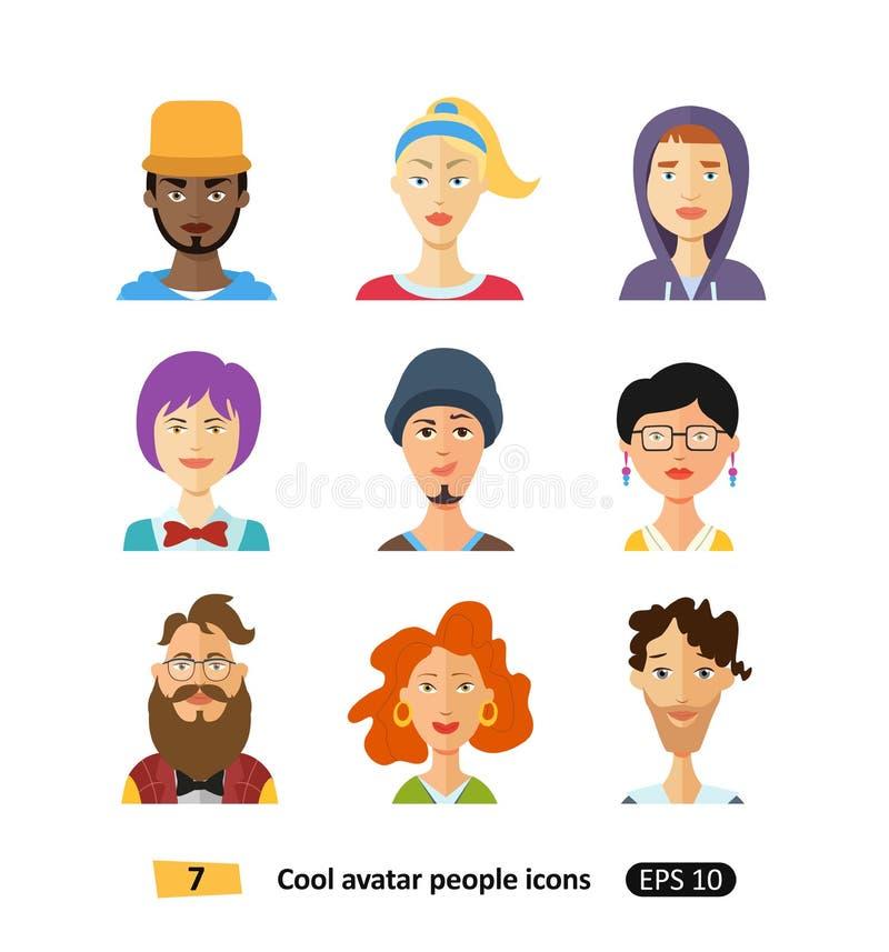 Плоские холодные люди воплощений установили для социальных сетей, передвижного применения или веб-дизайна бесплатная иллюстрация
