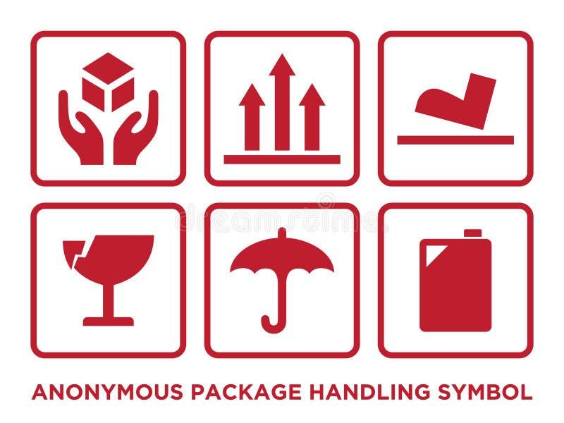 Плоский анонимный пакет регулируя символ с красным цветом иллюстрация штока