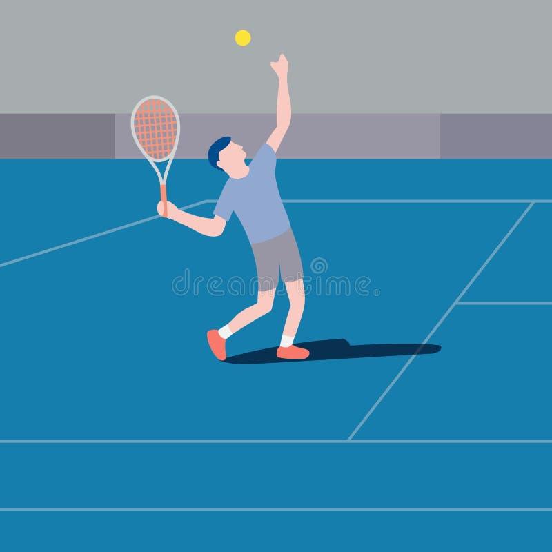 Плоский вектор сервировки теннисиста дизайна иллюстрация штока