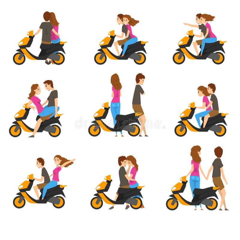 Плоский вектор установил с любящими парами и самокатом Маленькая девочка и парень с различными эмоциями Характер людей шаржа иллюстрация вектора