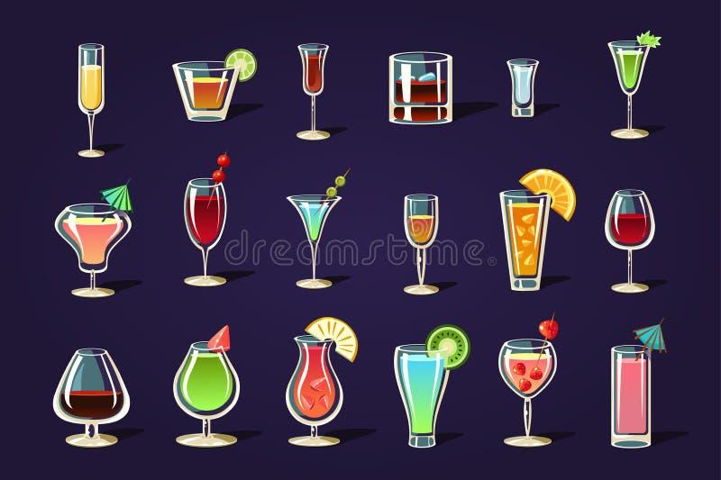 Плоский вектор установил с различными прозрачными стеклами и коктеилями Освежая пить лета Вкусные алкогольные напитки иллюстрация штока