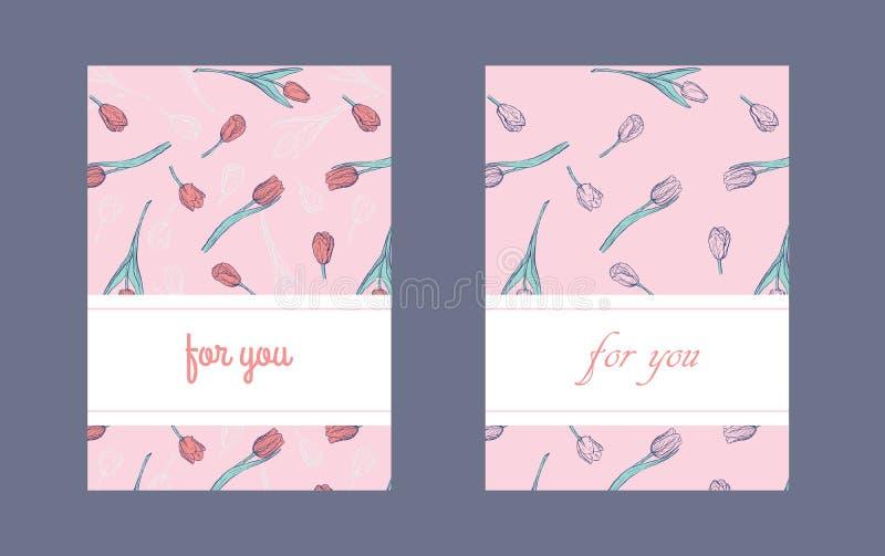 Плоский вертикальный шаблон дизайна упаковки или открытки с тюльпанами руки вычерченными бесплатная иллюстрация