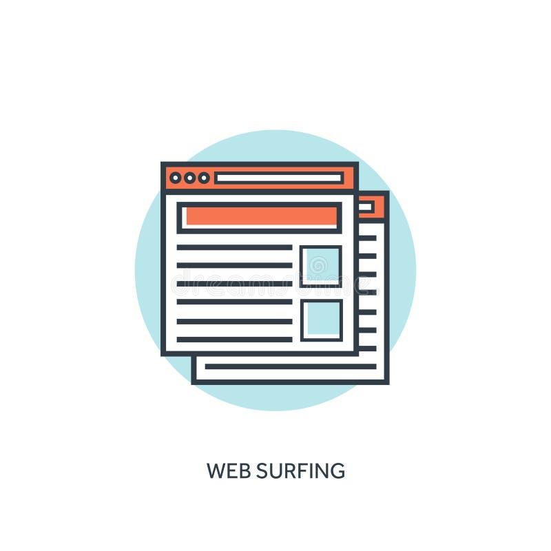 Плоский выровнянный значок окон браузера цифрово произведенный высокий интернет res изображения занимаясь серфингом иллюстрация вектора