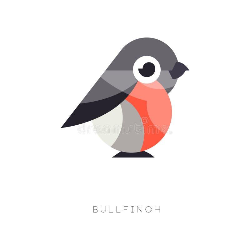 Плоский геометрический значок bullfinch Малая птица воробьинообразного в красных и черных цветах Красивый элемент вектора для лог иллюстрация вектора