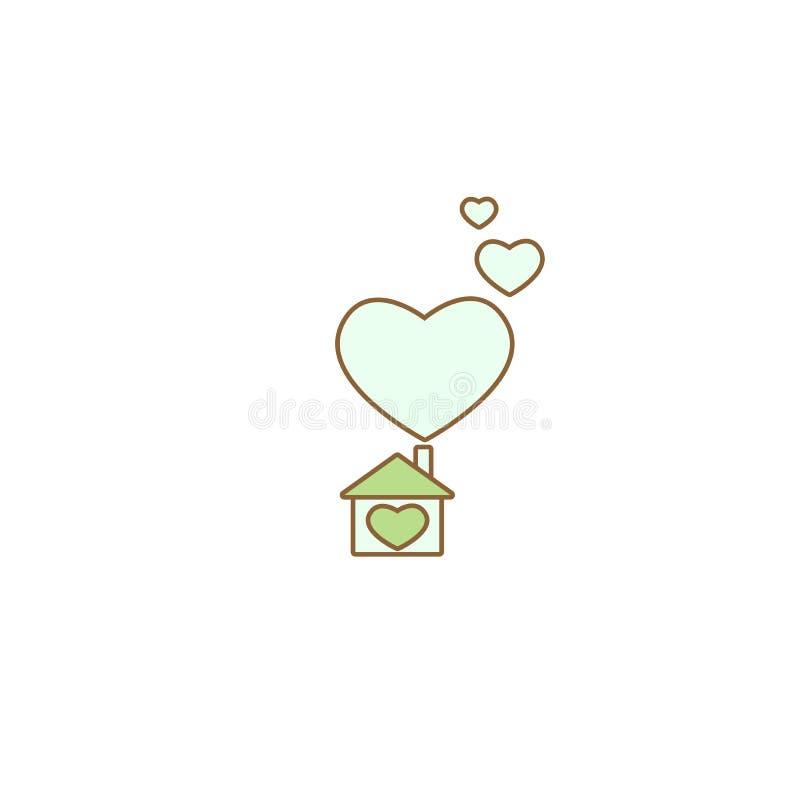 Плоский голубой дом с сердцем Простой силуэт дома с зеленой крышей и большими сердцами под печной трубой икона бесплатная иллюстрация