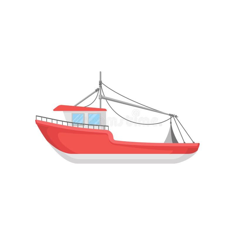 Плоский дизайн вектора яркой красной рыбацкой лодки Большой морской сосуд Элемент для infographic или передвижной игры иллюстрация штока