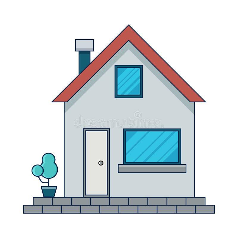 Плоский дизайн дома 2 окна, декоративное дерево на левой стороне иллюстрация вектора
