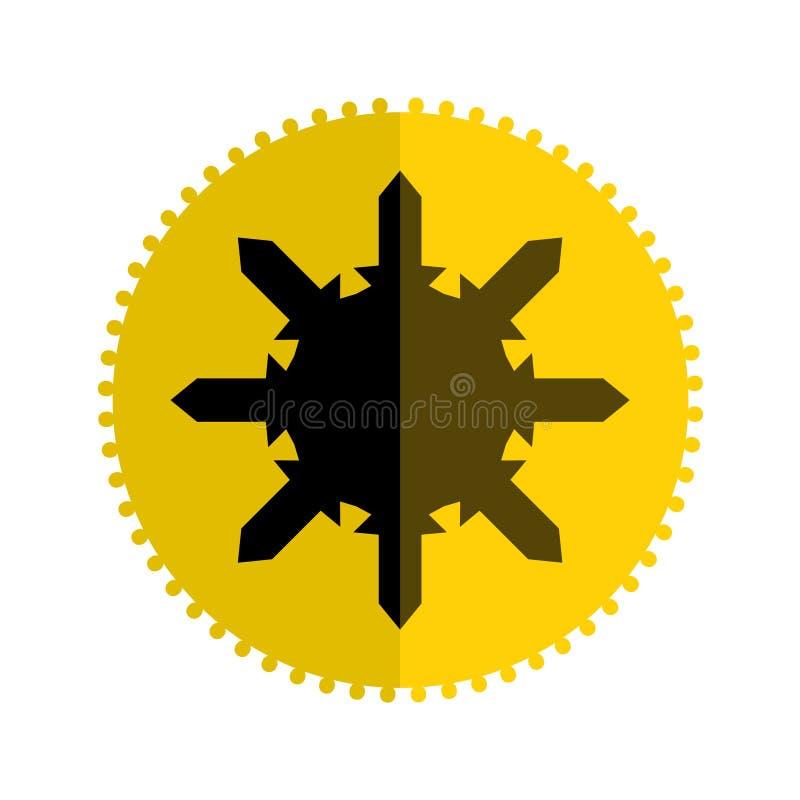 Плоский дизайн значка со звездой в желтых и золотых цветах изолированной над белизной иллюстрация вектора