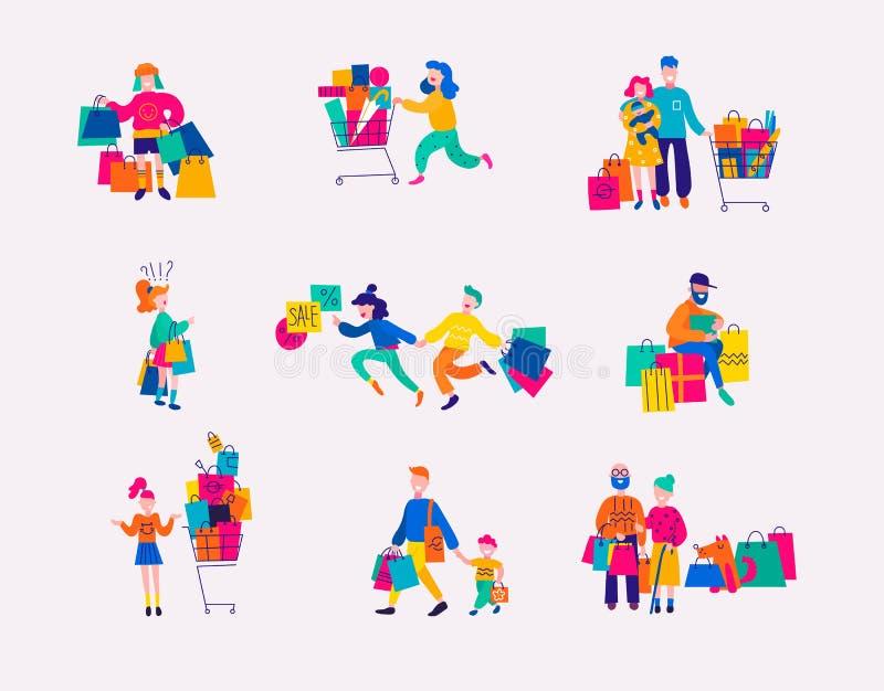 Установите людей с приобретениями на покупках Плоский дизайн, иллюстрации вектора иллюстрация штока
