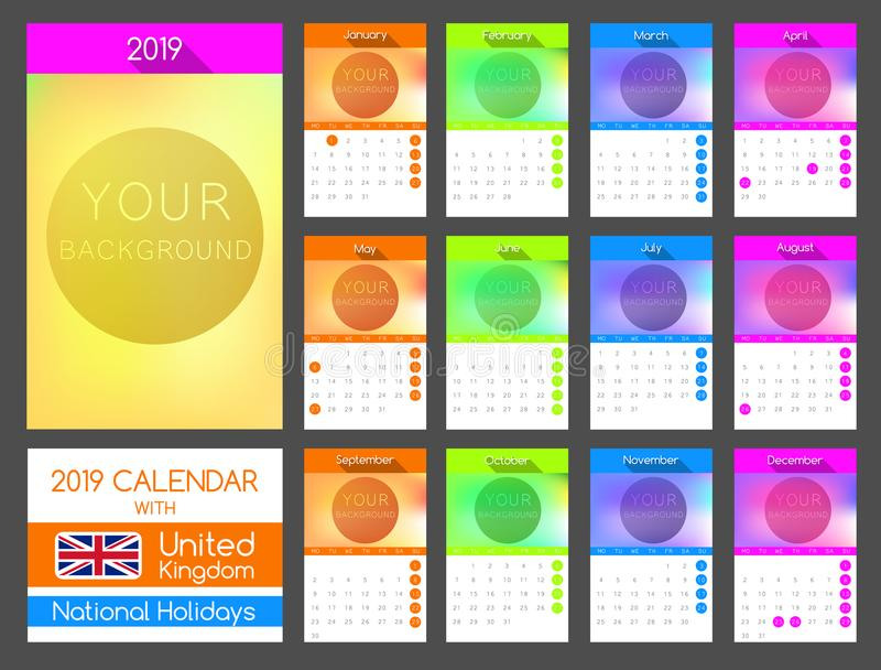 Плоский дизайн 2019 календаря с национальными праздниками Великобритании иллюстрация вектора