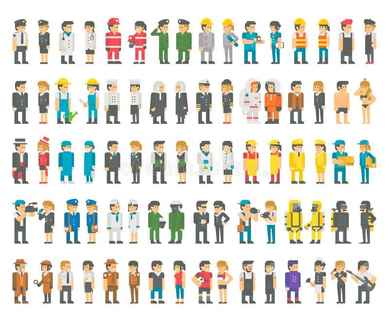 Плоский дизайн много установленных профессий бесплатная иллюстрация