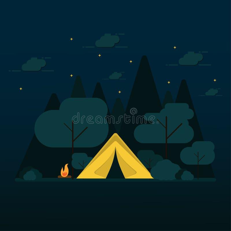 плоский дизайн располагаясь лагерем в лесе бесплатная иллюстрация