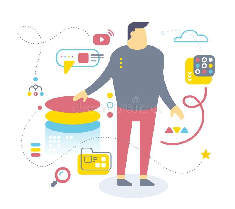 Плоский дизайн стиля работника офиса для сети, места, знамени, presen бесплатная иллюстрация