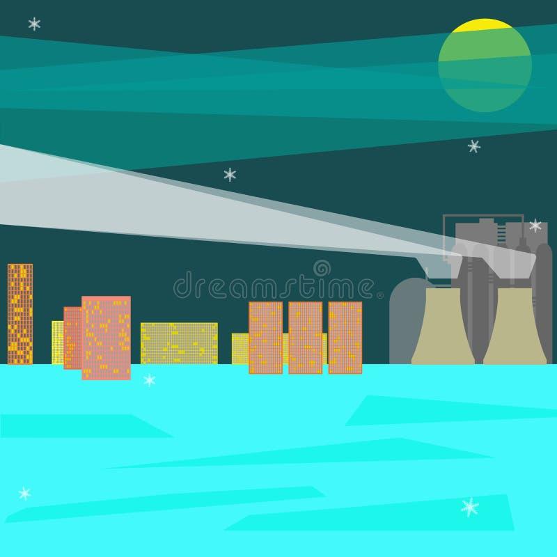 Плоский дизайн с ландшафтом зимы городским и промышленной фабрикой b бесплатная иллюстрация