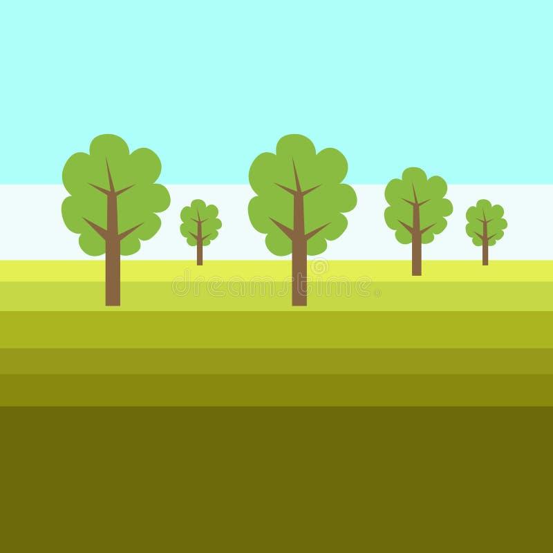 Плоский дизайн фото на открытом воздухе ландшафта красочной лесистой зоны с зеленой травой против голубого безоблачного неба r иллюстрация вектора