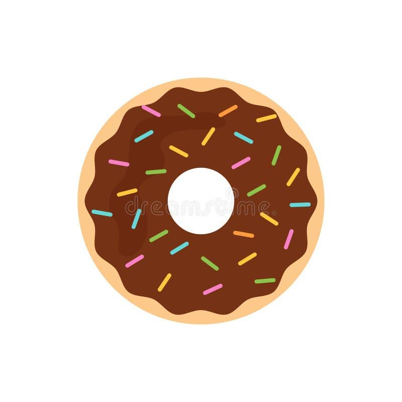 Плоский донут шоколада значка иллюстрация вектора
