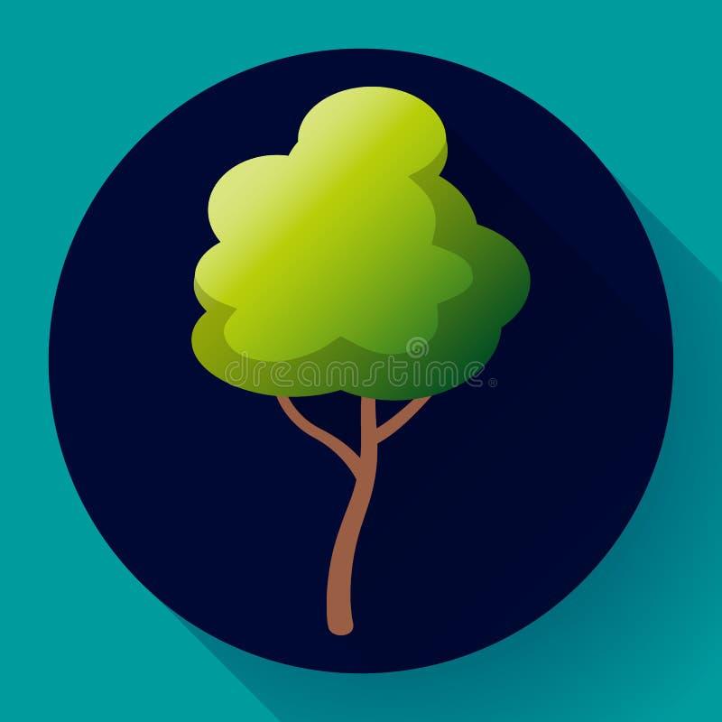 Плоский зеленый вектор значка дерева Сохраньте лес и природу бесплатная иллюстрация