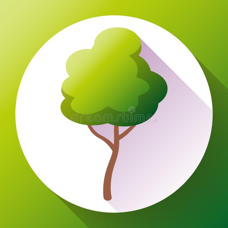 Плоский зеленый вектор значка дерева Сохраньте лес и природу иллюстрация вектора