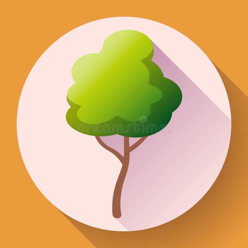 Плоский зеленый вектор значка дерева Сохраньте лес и природу иллюстрация штока