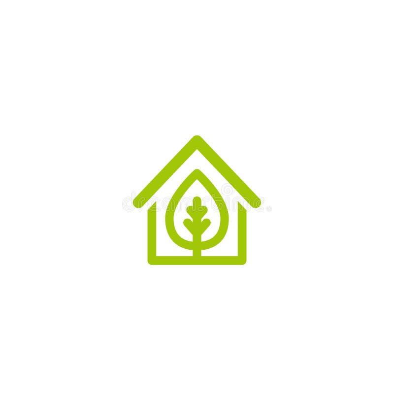 Плоский зеленый дом с зелеными лист внутрь Простой силуэт дома бесплатная иллюстрация