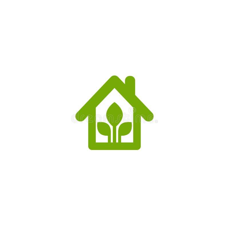 Плоский зеленый дом с зелеными лист внутрь Простой силуэт дома иллюстрация штока