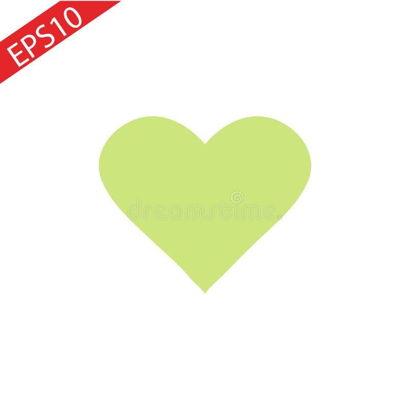 Плоский зеленый значок сердца плоско EPS10 иллюстрация штока