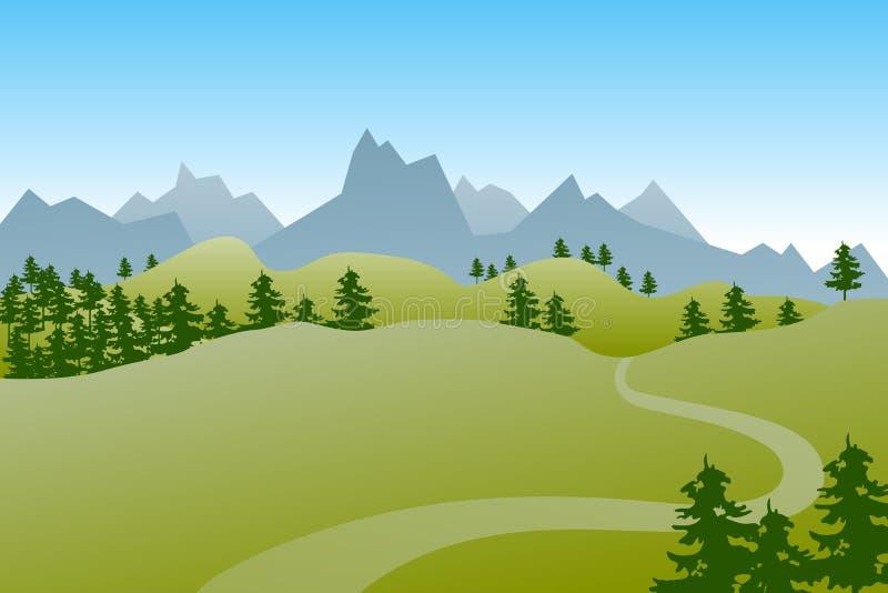 Плоский зеленый ландшафт лета с холмами, деревьями и путем иллюстрация вектора