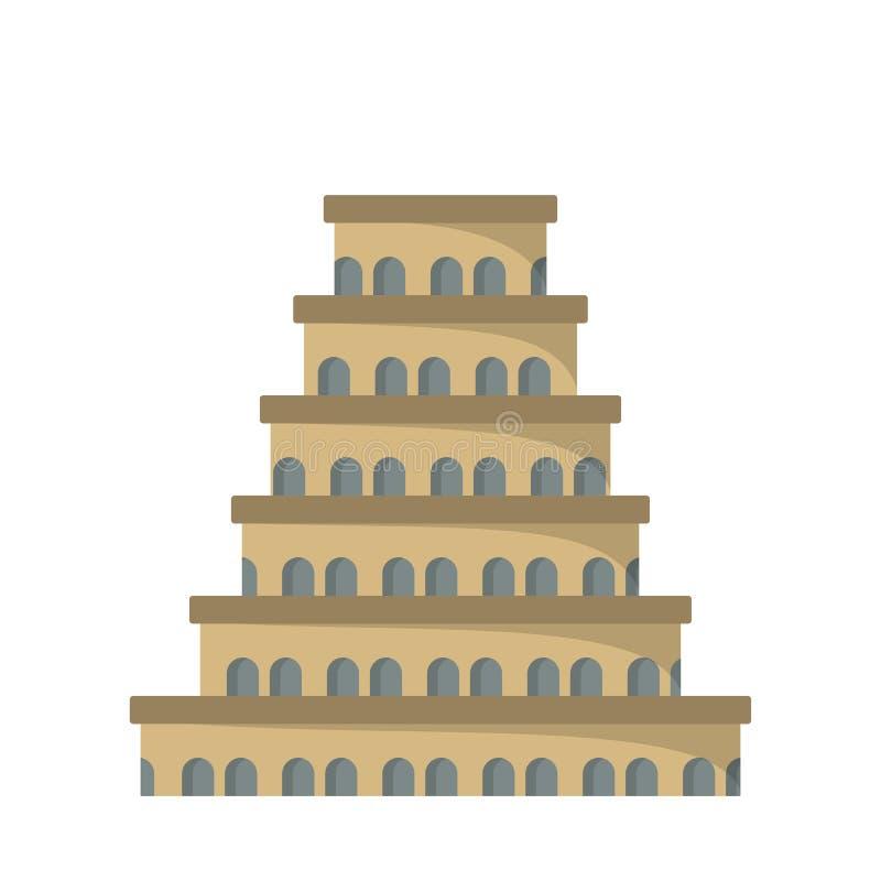 Плоский значок башни Babel бесплатная иллюстрация