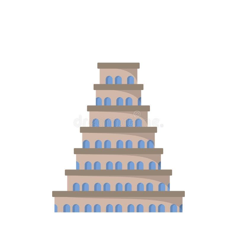 Плоский значок башни Babel иллюстрация штока