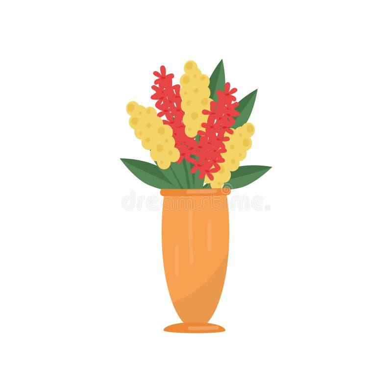 Плоский значок вектора высокорослой вазы с яркими красными и желтыми цветками и листьями зеленого цвета Красивый букет подарка иллюстрация штока