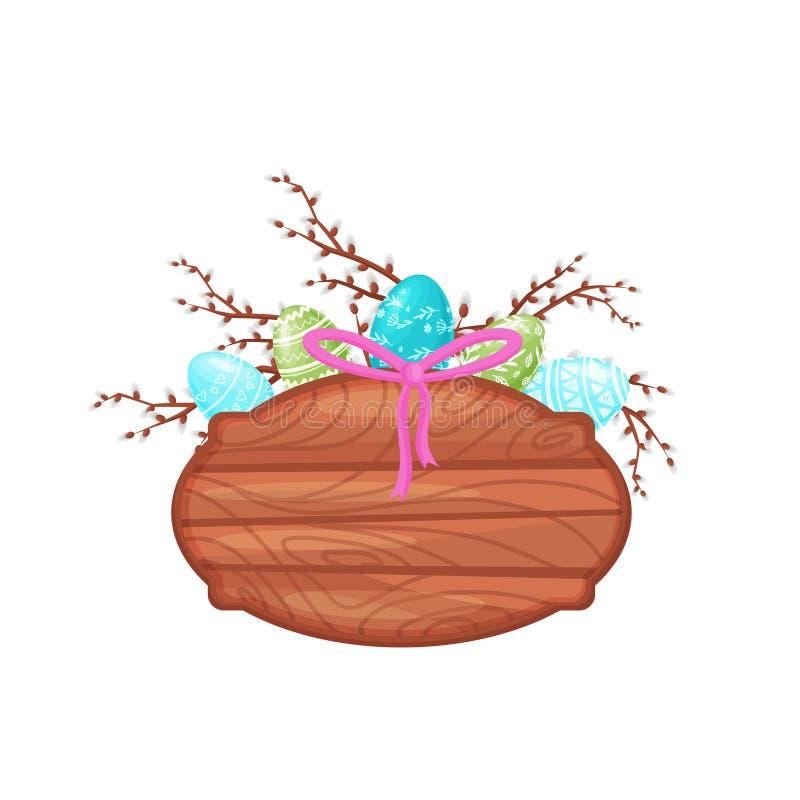 Плоский значок вектора деревянной доски украшенный с покрашенными пасхальными яйцами, ветвями вербы и розовым смычком бесплатная иллюстрация