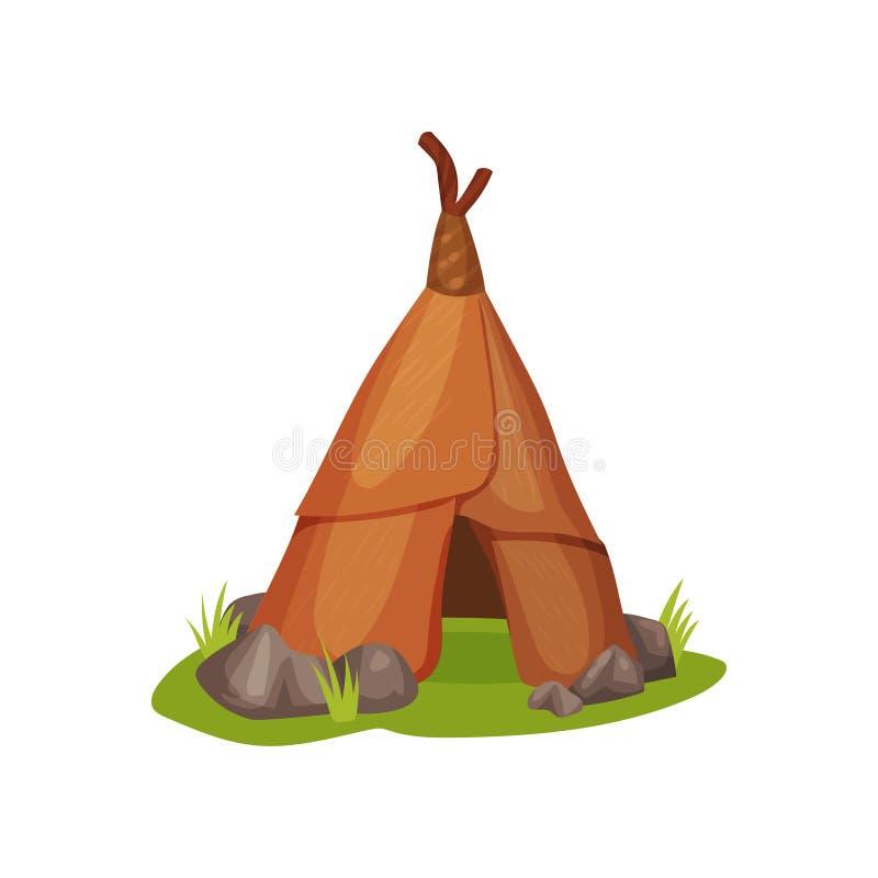 Плоский значок вектора старой хаты человека на зеленой траве окруженной малыми камнями Дом доисторических людей сделанных животно иллюстрация штока