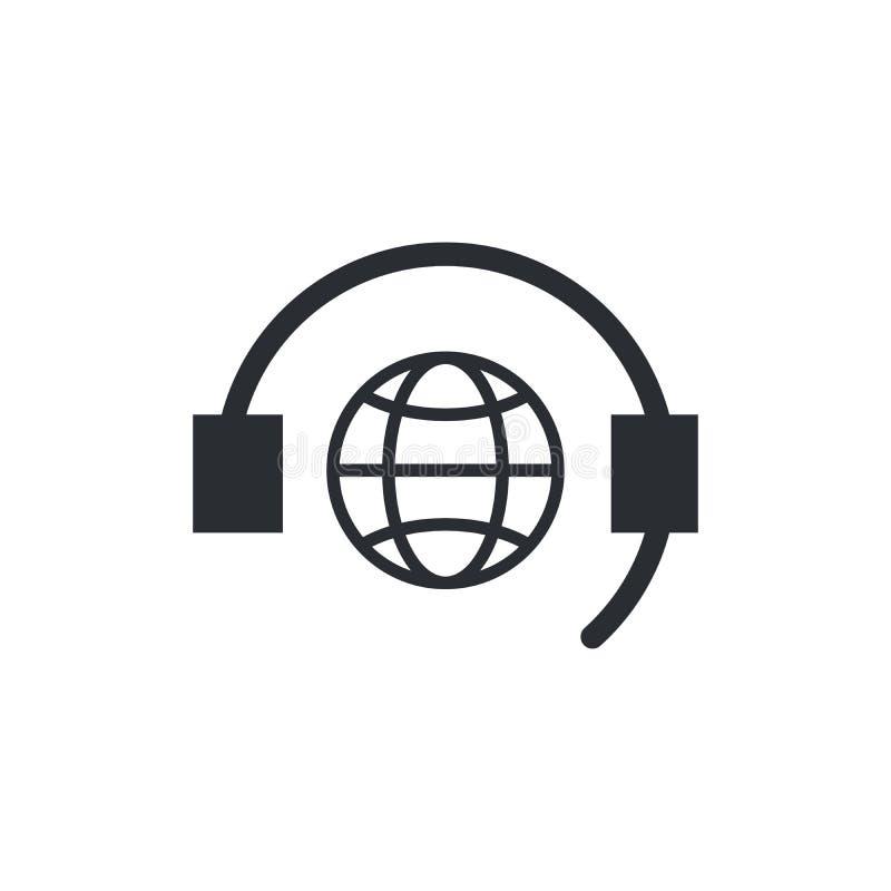 Плоский значок глобальной поддержки Подпишите центр телефонного обслуживания Символ контакта технический Техник звонка Иллюстраци иллюстрация штока