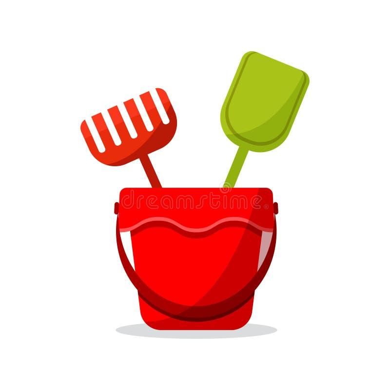 Плоский значок дизайна игрушек для ящика с песком: красное ведро младенца, грабл, лопатка иллюстрация штока