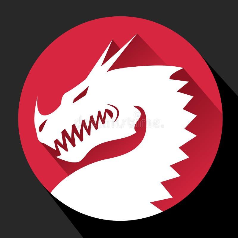 Плоский значок дракона бесплатная иллюстрация