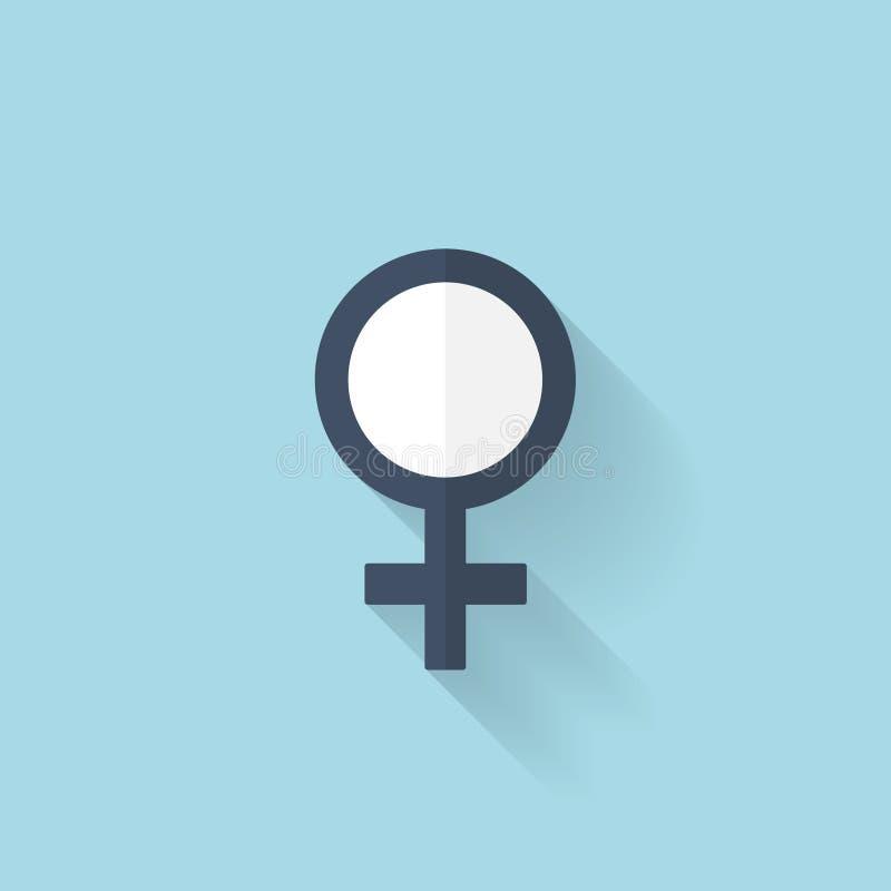 Плоский значок интернета сети цифрово произведенный женщиной символ изображения иллюстрация вектора