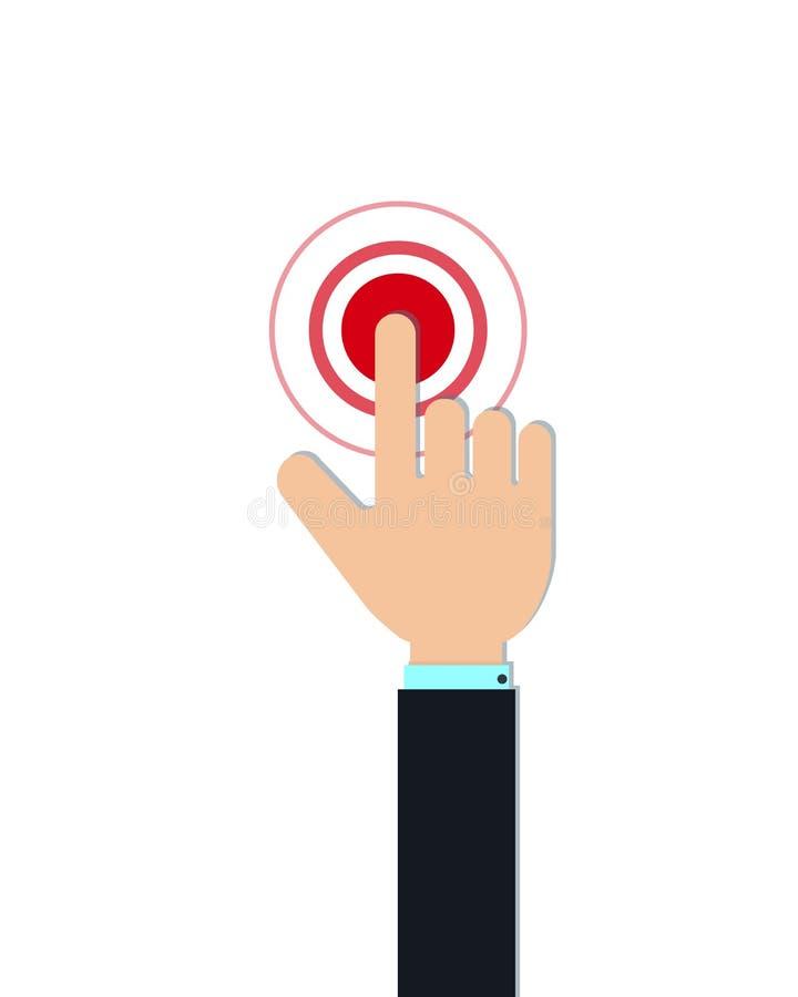 Плоский значок касания Жест касания мобильного телефона, рука с пальцем указателя изолированным на белой предпосылке иллюстрация штока