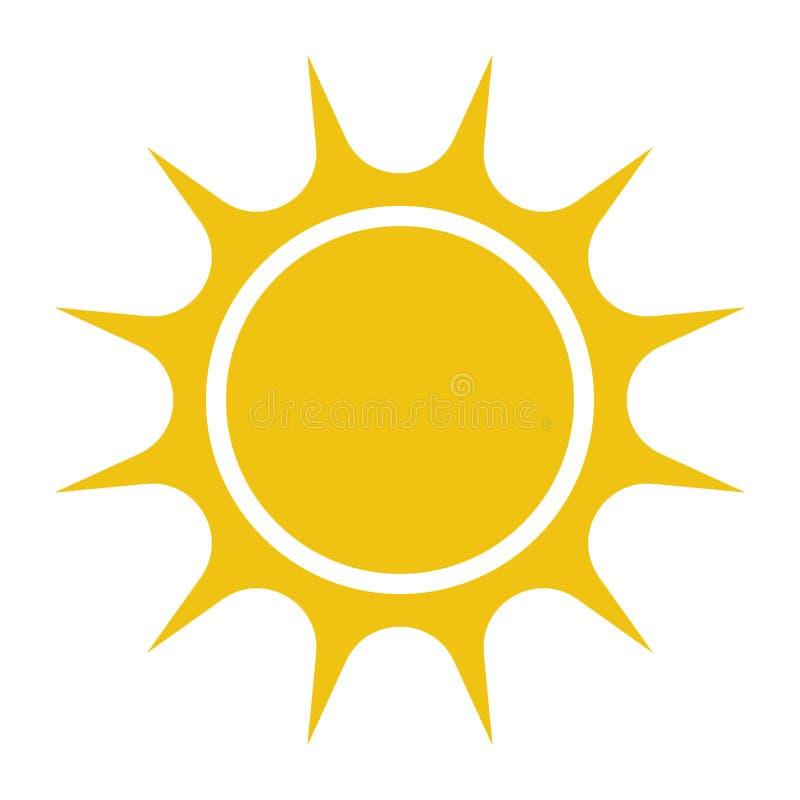 Плоский значок солнца Пиктограмма Солнца Иллюстрация вектора шаблона иллюстрация штока