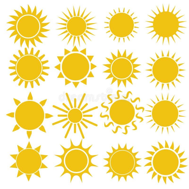 Плоский значок солнца Пиктограмма Солнца Ультрамодный символ лета вектора иллюстрация вектора