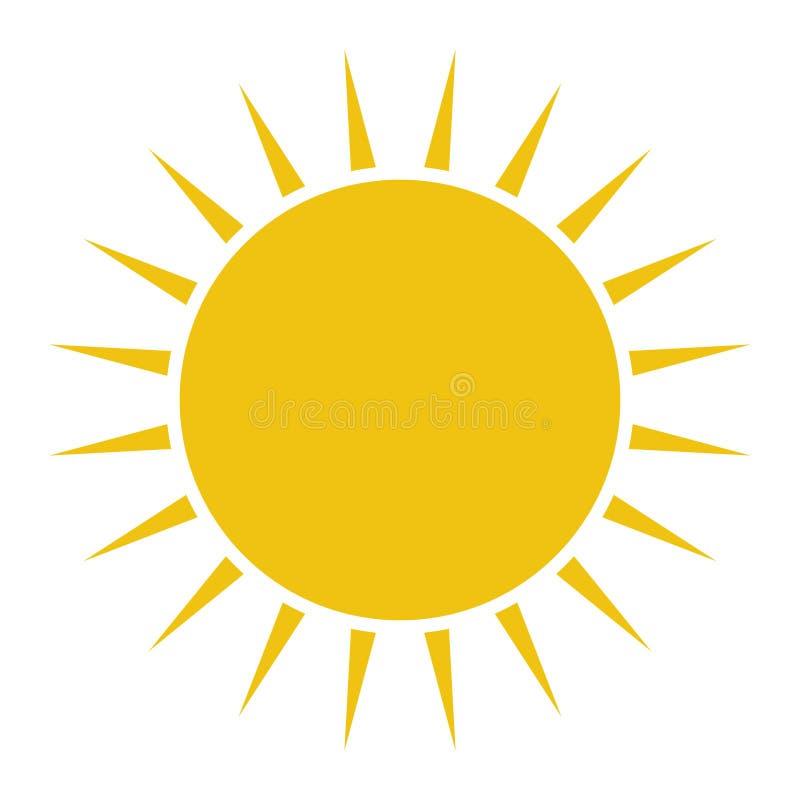 Плоский значок Солнця Пиктограмма Солнца иллюстрация вектора шаблона иллюстрация вектора