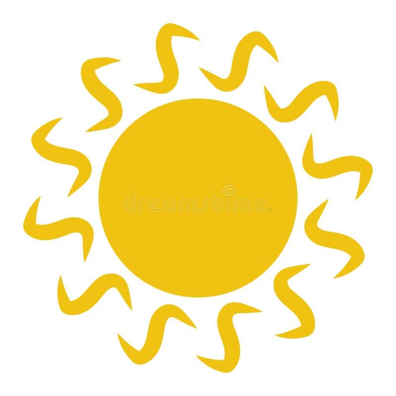 Плоский значок Солнця Пиктограмма Солнца иллюстрация вектора шаблона иллюстрация штока