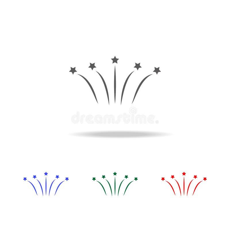 Плоский значок фейерверка Элементы зимы в multi покрашенных значках Наградной качественный значок графического дизайна Простой зн бесплатная иллюстрация