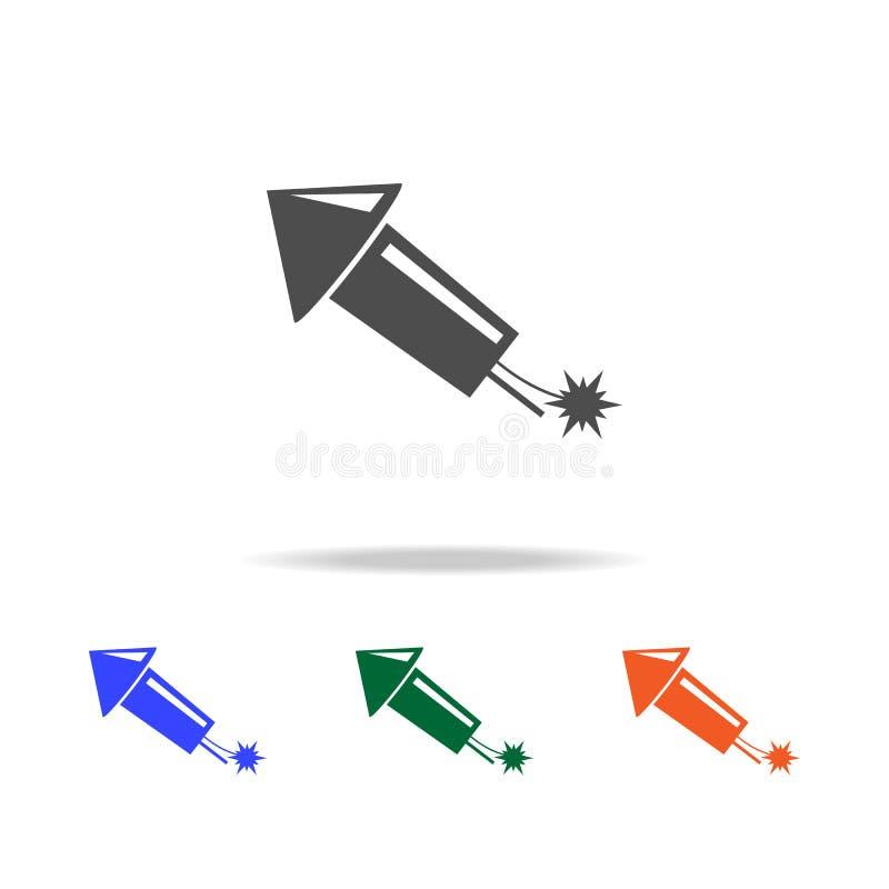 Плоский значок фейерверка Элементы праздников рождества в multi покрашенных значках Наградной качественный значок графического ди иллюстрация штока